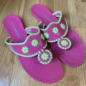 Jack Rogers Pink Green Sandals Jelly Thong Flat 7